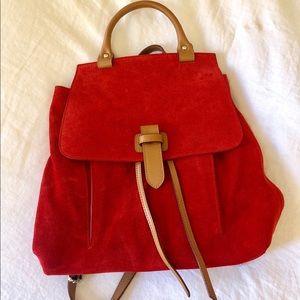 Red suede J.peterman bookbag